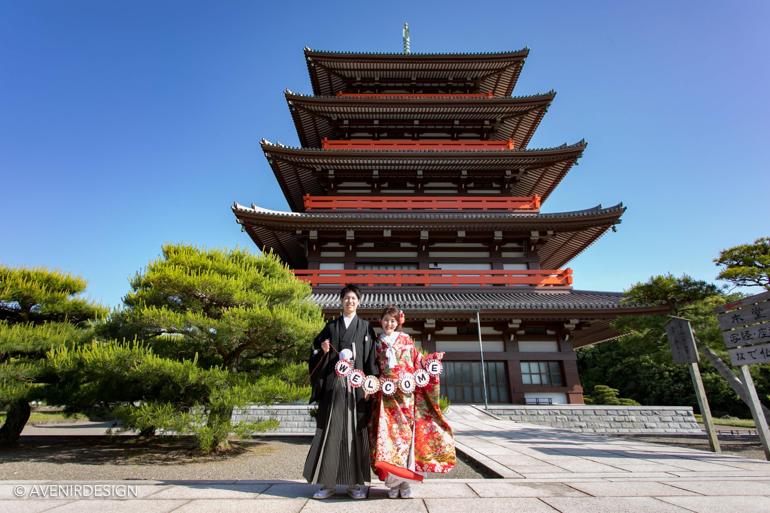 和装前撮り写真|ガーランドを持って|熊本県玉名市の奥之院