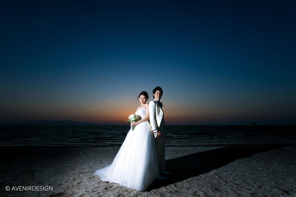 結婚式前撮りロケーションフォト|夕日