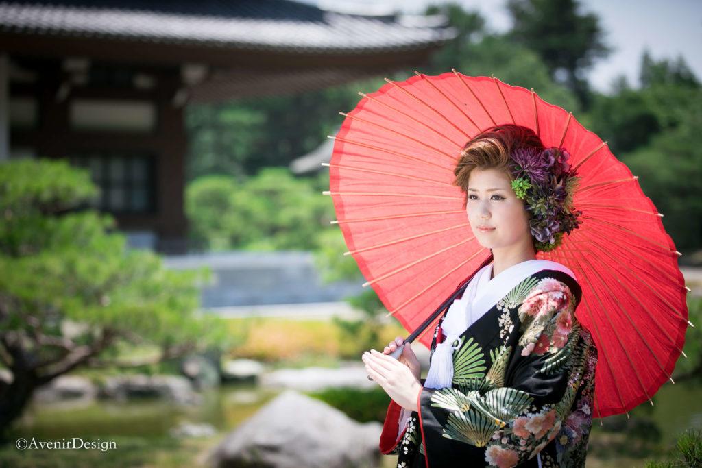 和装前撮り|熊本-日本庭園