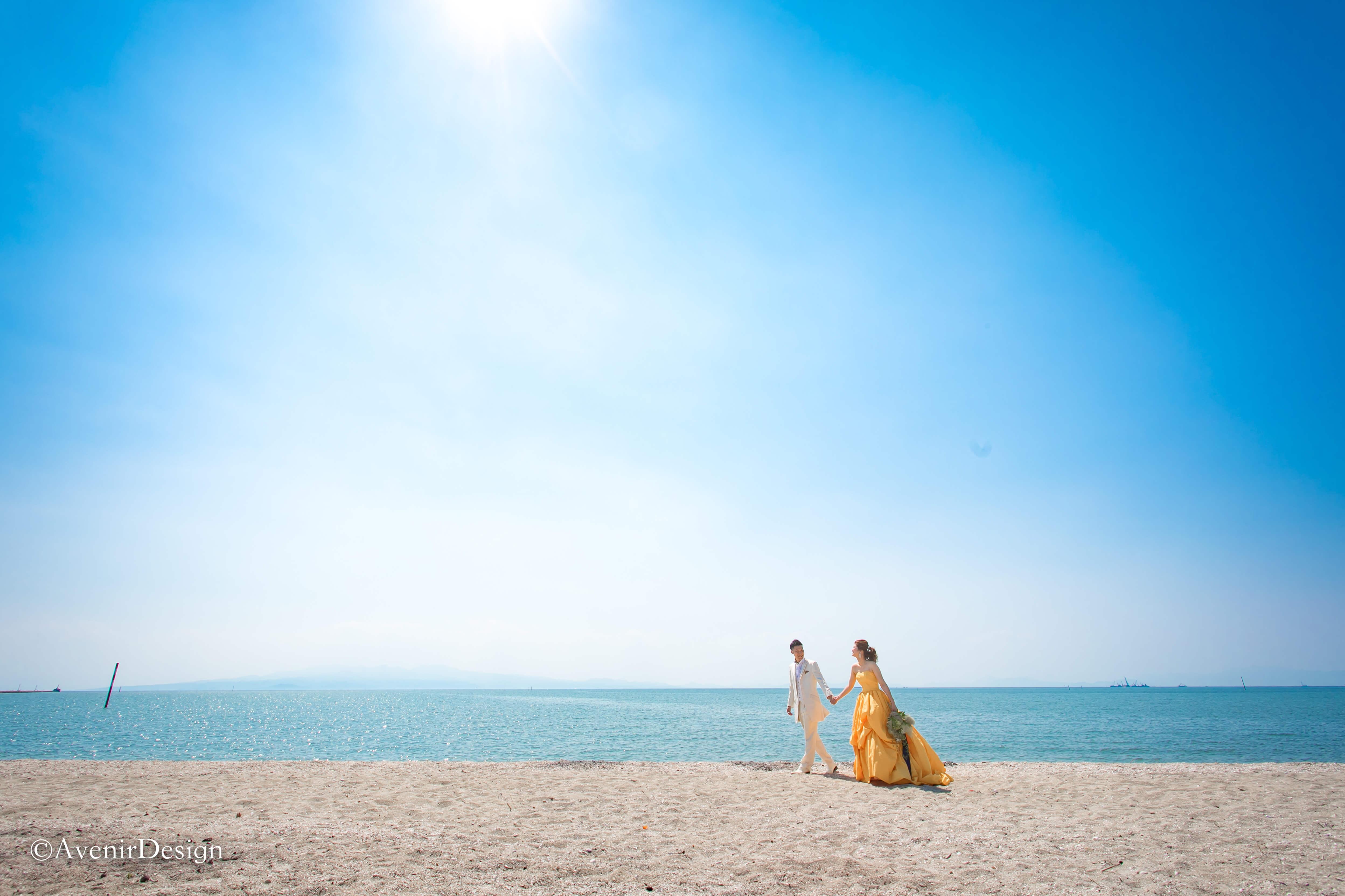 三池海水浴場|カラードレスの前撮りロケーション写真