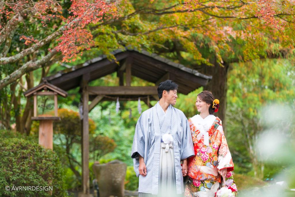 天草|紅葉の前撮り写真|色打掛で神社