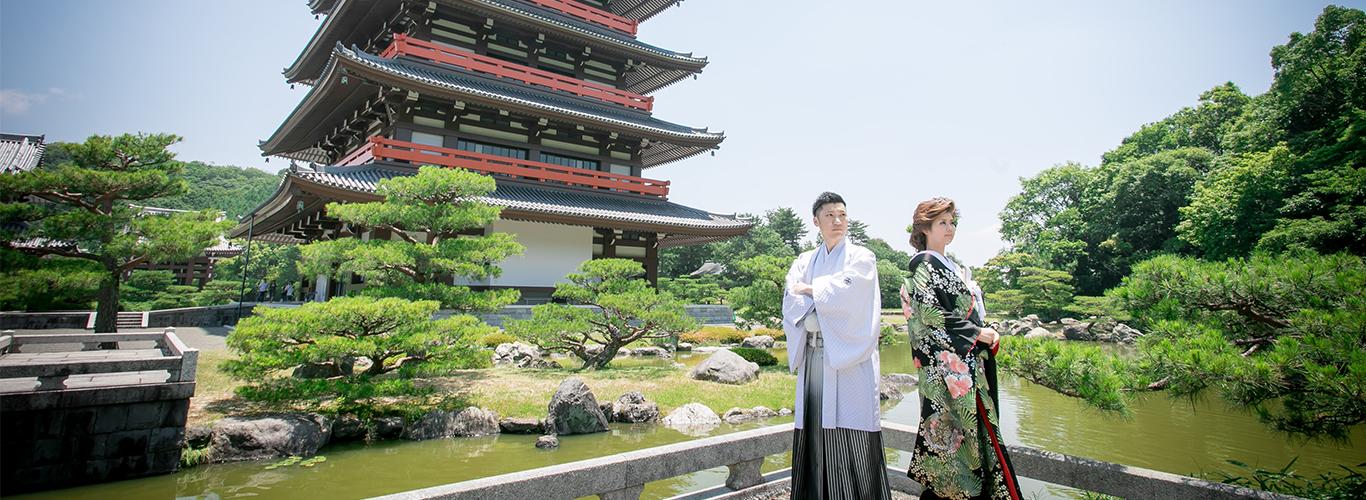 和装前撮り|熊本県玉名市の奥之院|庭園の写真