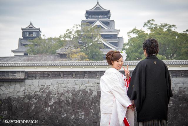 熊本城前撮り|白無垢
