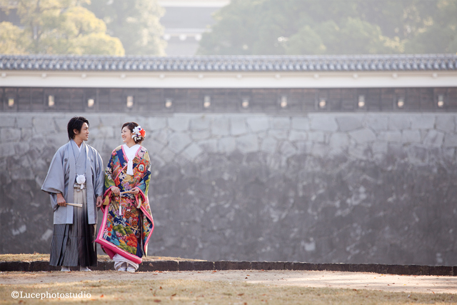熊本城前撮り|色打掛