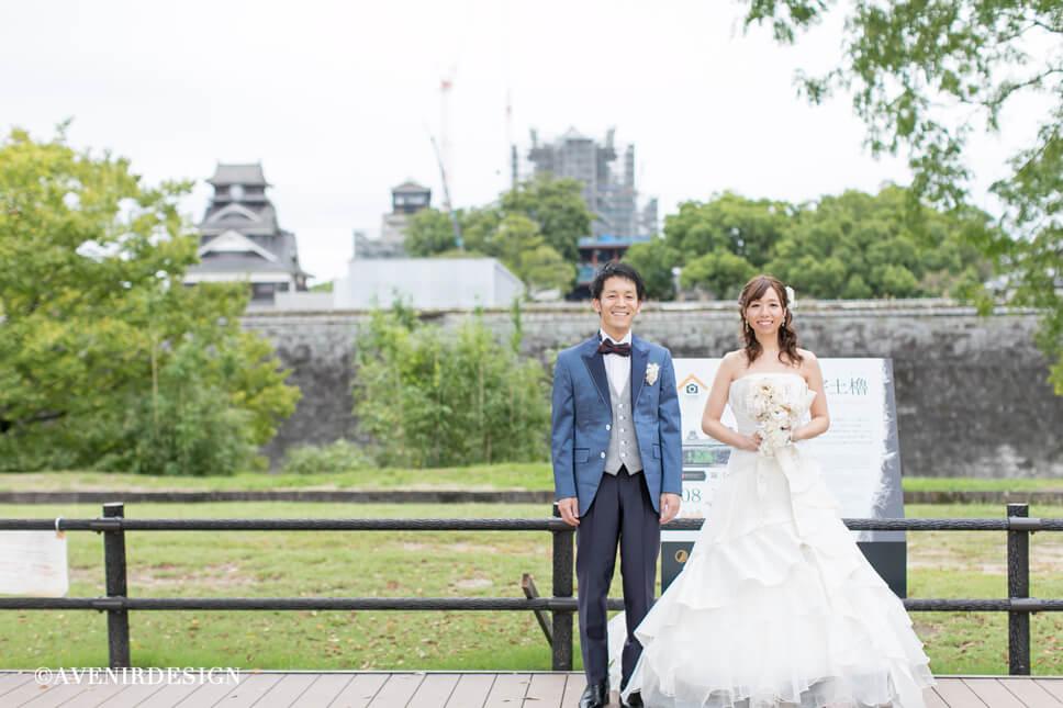 熊本城前撮り写真|ドレス