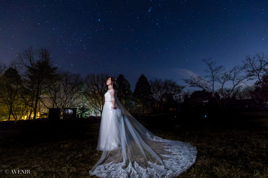【星空】結婚式の前撮りで叶う!憧れの星空でウェディングフォト*
